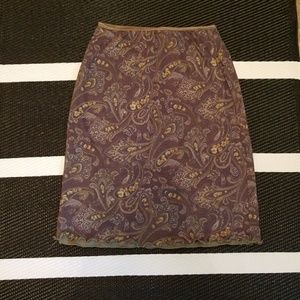 Olive Green pasley skirt, size M